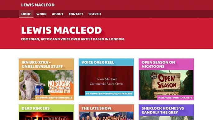 Screenshot of Lewis MacLeod's homepage.