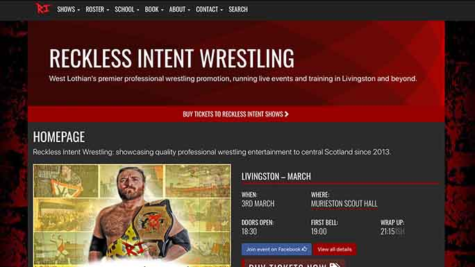 Screenshot of the Reckless Intent homepage.
