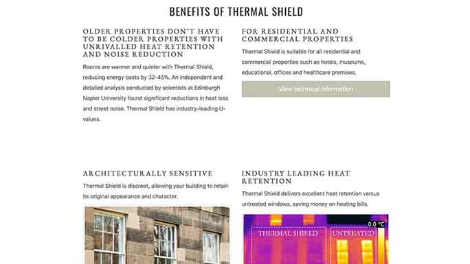Screenshot of the Thermal Shield homepage.