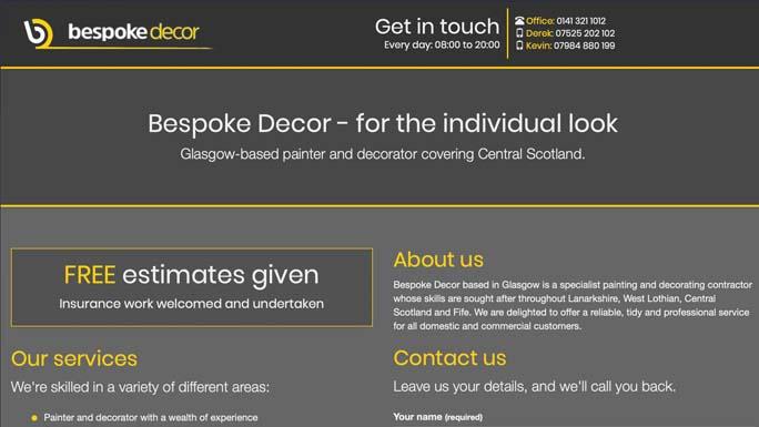 Screenshot of the Bespoke Decor homepage in 2019.