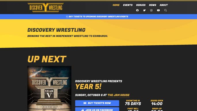 The Discovery Wrestling homepage.