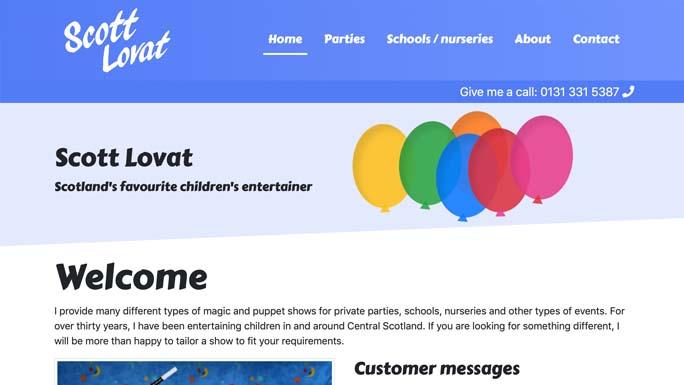 Scott Lovat's homepage in 2019.